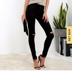 American Bazi Black High-Waisted Skinny Jeans